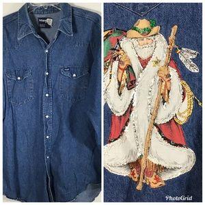 Vintage Wrangler Denim Western Santa Sheriff Shirt